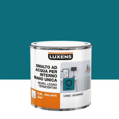 Vernice di finitura LUXENS Manounica base acqua blu miami 1 lucido 0.5 L