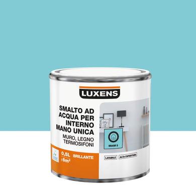 Vernice di finitura LUXENS Manounica base acqua blu miami 5 lucido 0.5 L