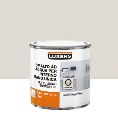 Vernice di finitura LUXENS Manounica base acqua marrone trench 6 lucido 0.5 L