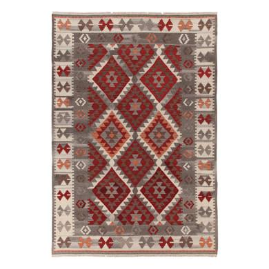 Tappeto Kilim Zagros in lana, tessuto a mano, grigio e arancione, 140x200 cm