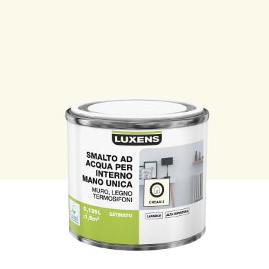 Vernice di finitura LUXENS Manounica base acqua bianco crema 5 satinato 0,125 L