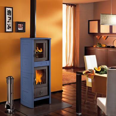 Stufa a legna con forno SUPERIOR Morena 6.2 kW blu