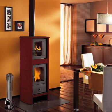 Stufa a legna con forno SUPERIOR Morena 6.2 kW bordeaux