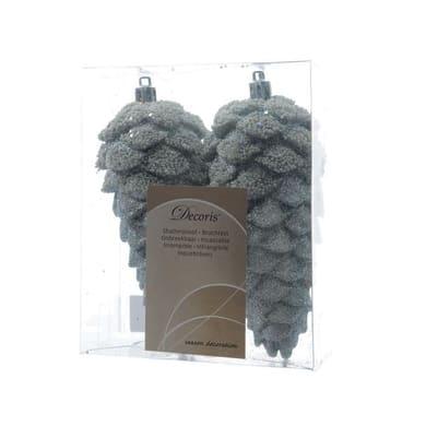 Ornamento appeso grigio / argento H 14 cm