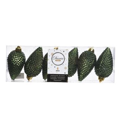 Pigna Set 6 pigne in plastica verde pino Ø 4.5 cm