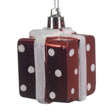 Set 2 pacchetti natale in plastica rossi a pois bianchi , L 3.5 cm x P 3.5 cm