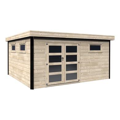 Casetta da giardino in legno Evelin,  superficie interna 16.83 m² e spessore parete 28 mm