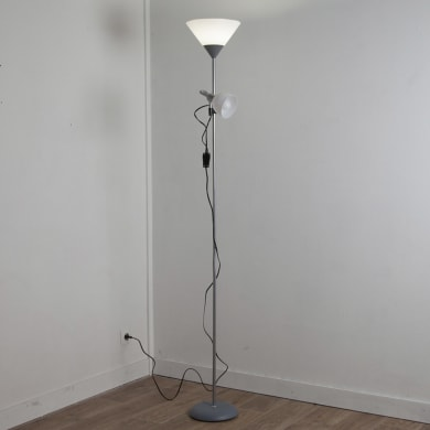 Lampada da terra Basic grigio, in plastica, H177cm, E27 2x