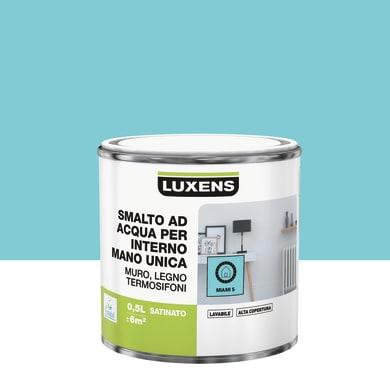 Smalto LUXENS Manounica base acqua blu miami 5 satinato 0.5 L