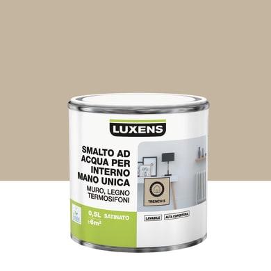 Vernice di finitura LUXENS Manounica base acqua marrone trench 5 satinato 0.5 L