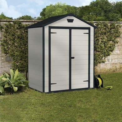 Casetta da giardino in polipropilene Lineus 6x4,  superficie interna 1.96 m² e spessore parete 16 mm