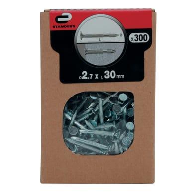 Chiodo testa piana STANDERS acciaio L 30 mm x Ø 2.7 mm, 300 pezzi