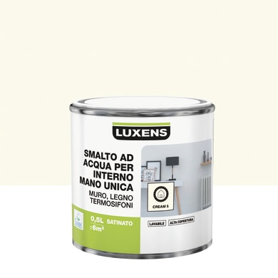 Vernice di finitura LUXENS Manounica base acqua bianco crema 5 satinato 0.5 L