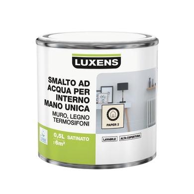 Vernice di finitura LUXENS Manounica base acqua bianco paper 2 satinato 0.5 L
