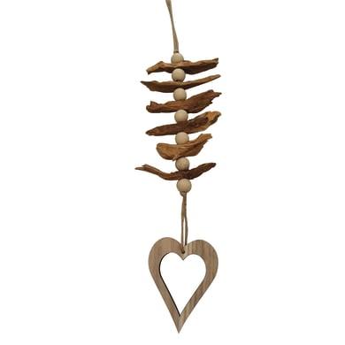 Pendente con cuore in legno colori naturali , L 10 cm x P 1 cm