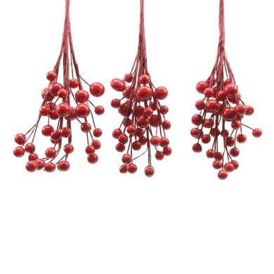 Decorazione per albero di natale Set 3 rametti con bacche rosse , L 7.5 cm