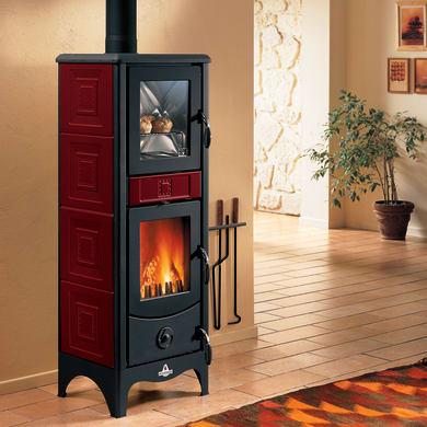 Stufa a legna con forno SUPERIOR Maddalena 6.2 kW bordeaux