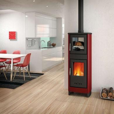 Stufa a legna con forno SUPERIOR Malika 6.2 kW bordeaux