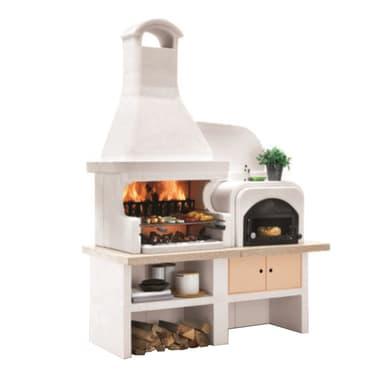 Barbecue in cemento refrattario PALAZZETTI Malibù + forno a Dx griglia 76 cm L 85 x P 85 x H 252 cm
