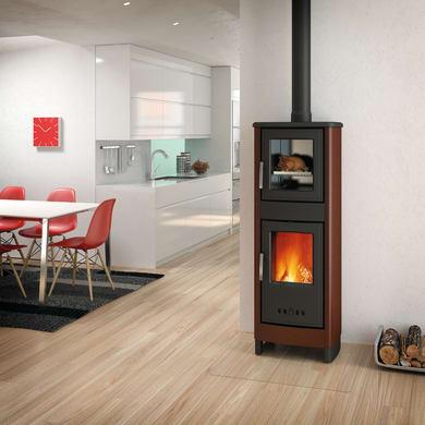 Stufa a legna con forno SUPERIOR Malika 6.2 kW marrone