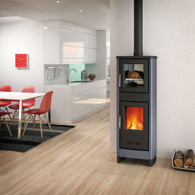 Stufa a legna con forno SUPERIOR Malika 6.2 kW grigio