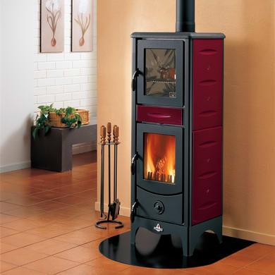 Stufa a legna con forno SUPERIOR Milena 6.2 kW bordeaux
