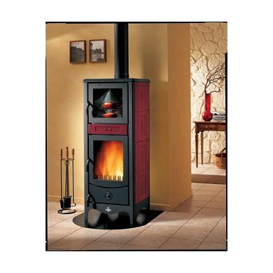 Stufa a legna con forno SUPERIOR Sara 8 kW bordeaux