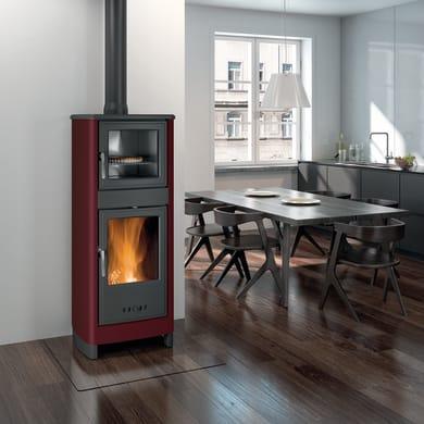 Stufa a legna con forno SUPERIOR Savina 8 kW bordeaux