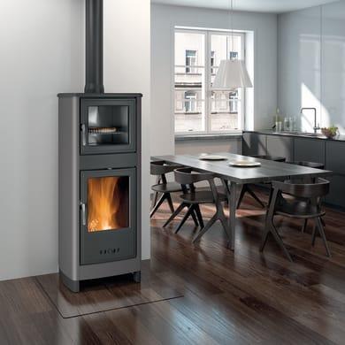 Stufa a legna con forno SUPERIOR Savina 8 kW grigio