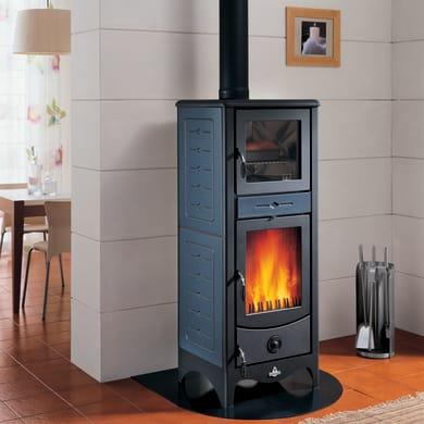 Stufa a legna con forno SUPERIOR Simona 8 kW blu
