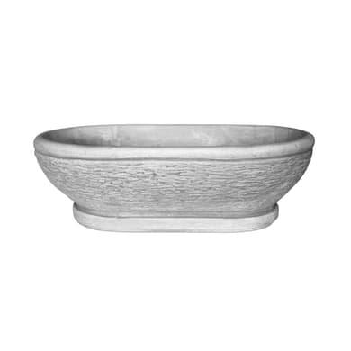 Ciotola Ovale in calcestruzzo colore grigio H 15 cm, L 45 x P 29 cm