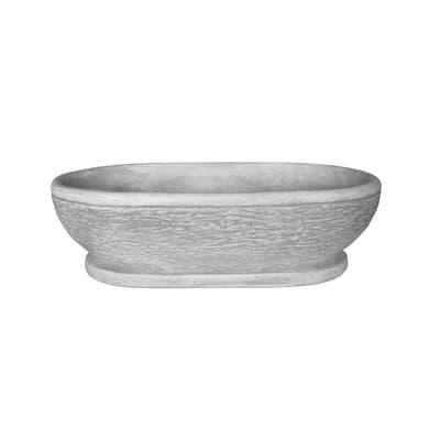 Ciotola Ovale in calcestruzzo colore grigio H 18 cm, L 60 x P 37 cm