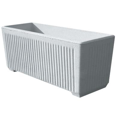 Fioriera Rigata in calcestruzzo colore bianco H 41 cm, L 100 x P 38 cm