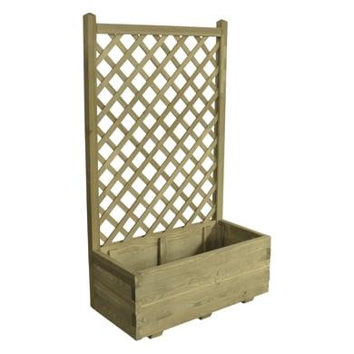 Fioriera con grigliato STELMET in legno colore naturale H 30 cm, L 80 x P 40 cm