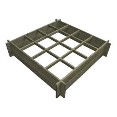 Fioriera per orto in legno verde L 120 x P 120 x H 27 cm