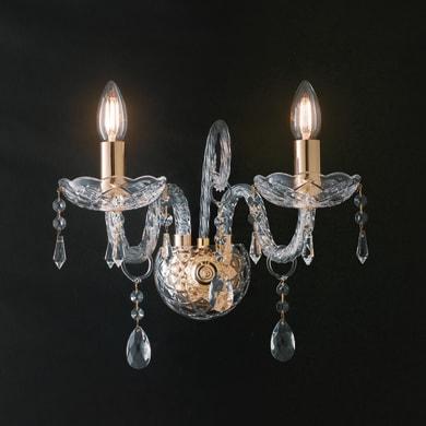 Applique neoclassico Monalisa oro, in vetro, 2 luci
