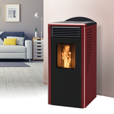 Stufa a pellet ventilata Fusion 8 kW bordeaux