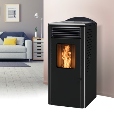 Stufa a pellet ventilata Fusion 10 kW nero