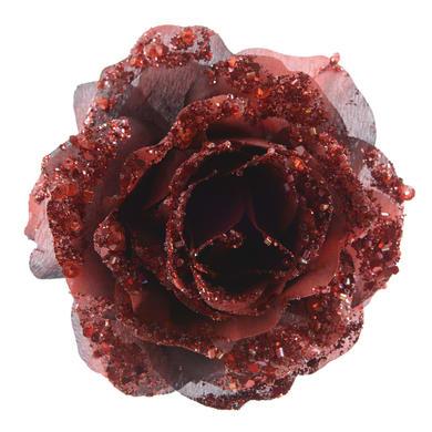 Rosa con molletta bordeaux x P 8.5 cm Ø 14 cm