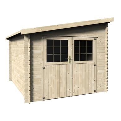 Casetta da giardino in legno Monopente,  superficie interna 7.29 m² e spessore parete 28 mm