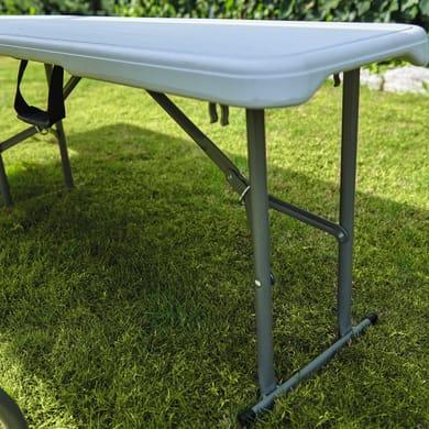 Panca da giardino senza cuscino pieghevole in acciaio colore bianco