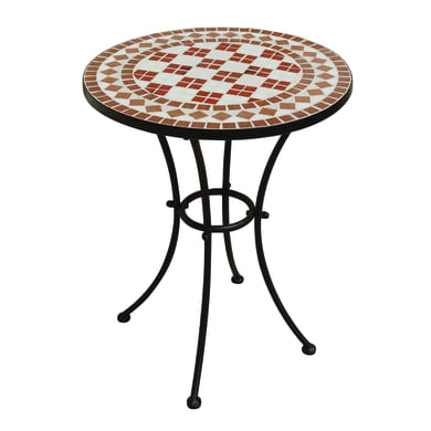 Tavolo da pranzo per giardino rotondo Epoxy con piano in mosaico Ø 55 cm