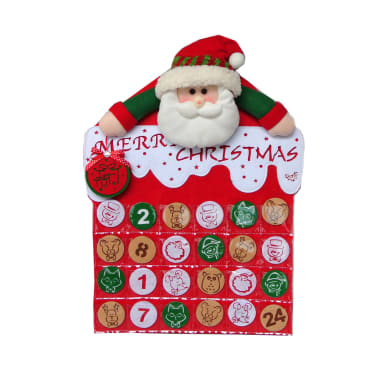 Calendario dell'Avvento in tessuto H 61 cm, L 44 cm  x P 9 cm
