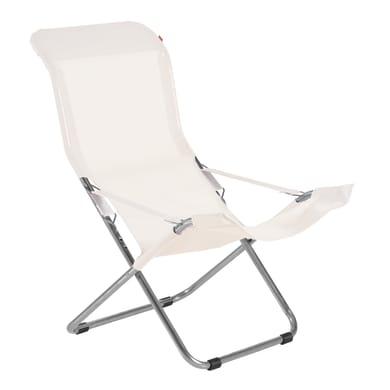 Sedia a sdraio pieghevole Comfort in acciaio naturale