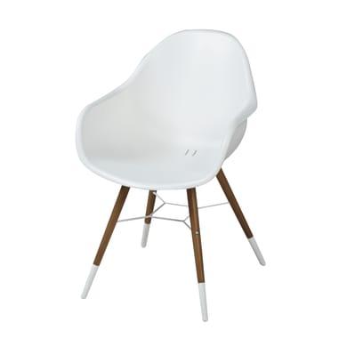 Sedia con braccioli senza cuscino in legno Chamonix colore bianco