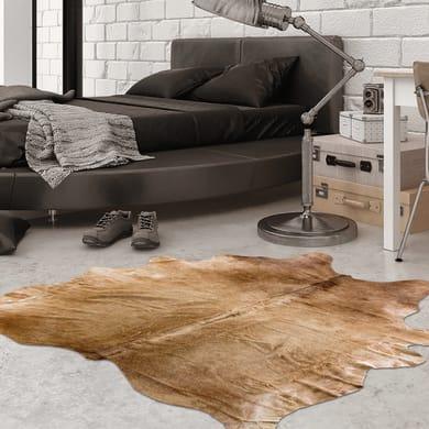 Tappeto Leather cow in cuoio, marrone e bianco, 170x240 cm