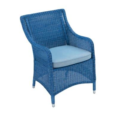 Poltrona da giardino con cuscino  in alluminio Carolina colore blu