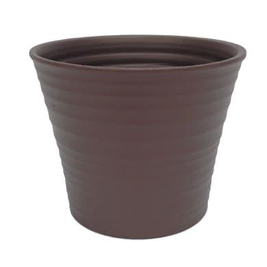 Portavaso Ruca ALMAS S.A. in ceramica colore tortora H 18.5 cm, Ø 22 cm