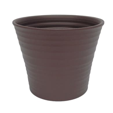Portavaso Ruca ALMAS S.A. in ceramica colore tortora H 16 cm, Ø 19 cm
