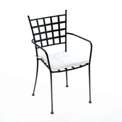 Sedia da giardino con cuscino  in acciaio Gijon NATERIAL colore nero